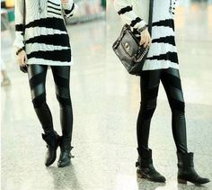 This chic design fashion cool style PU spliced pure color versatile long pants with PU spliced and pure color is very charming and cool. Leather Leggings, Women's Leggings, Black Leggings Style, Cool Style, My Style, Long Pants, Leggings Fashion, Colorful Leggings, Korean Fashion