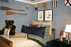 Nautical themed boy's bedroom - I like some elements here. The oar hanger. Boys Nautical Bedroom, Boy Toddler Bedroom, Nautical Bedding, Big Boy Bedrooms, Nautical Theme, Boy Room, Nautical Flags, Bedroom Boys, Bedroom Ideas