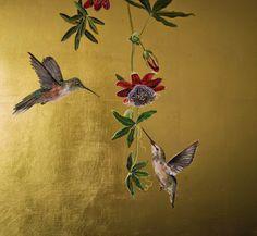 Ruth Winding: More Hummingbirds. Feuille D'or, Gold Leaf Art, Chinoiserie Wallpaper, Mural Wall Art, Fabric Painting, Bird Art, Japanese Art, Flower Art, Art Drawings