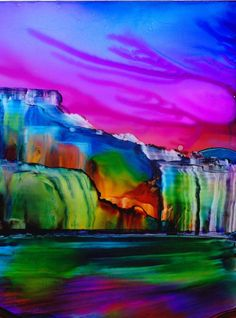 Rainbow Falls - alcohol ink by ©KCsCornerGallery (via Etsy)