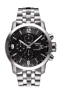 Tissot PRC 200 Men's Automatic Chrono Black Dial Watch with Stainless Steel Bracelet This collection has a watch for everyone. You are sure to find your perfect match within the Tissot PRC 200 family.