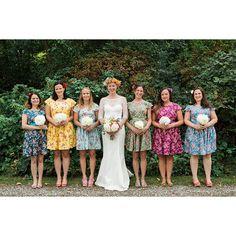 Vintage Floral Bridesmaids Dresses Mismatched Coordinating Tea Dress... ($87) ❤ liked on Polyvore featuring dresses, dark olive, women's clothing, vintage tea party dress, summer dresses, vintage floral dress, floral summer dresses and rose print dress