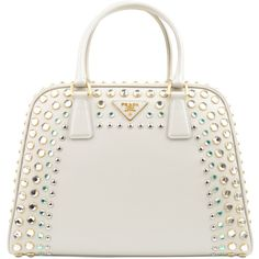 PRADA Saffiano Vernice Crystal Pyramid Bag (£2,550) ❤ liked on Polyvore featuring bags, handbags, shoulder bags, purses, bolsas, prada, white pattern, prada shoulder bag, white studded purse and prada handbags