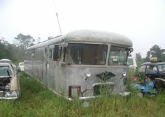 The ignoble end of a real stunner. 1967 Spartan pusher mobile home. I've never seen one of these before.