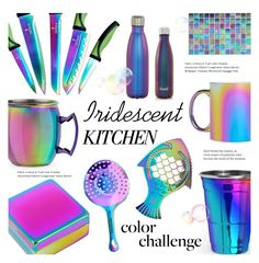 """""""Iridescent Kitchen ~ Oil Slick Decor"""" by alexandrazeres ❤ liked on Polyvore featuring interior, interiors, interior design, home, home decor, interior decorating, Lund London, kitchen, homedecor and iridescent"""