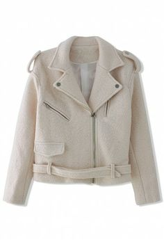 Felt Wool Motocycle Jacket with Belt in Cream