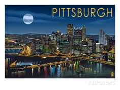 Pittsburgh, Pennsylvania - Skyline at Night Poster by Lantern Press - at AllPosters.com.au