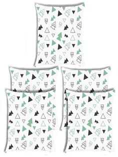 Giftwallas Triangle Pattren Cushion Cover Set Of 5 Sky Green Colour