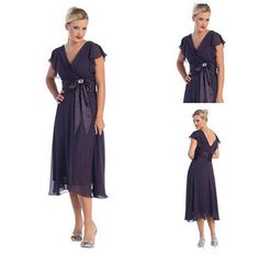 Free Shipping Dark Purple Ruffled Sleeves Tea Length Chiffon Cheap Mother Of The Bride Dresses Plus Size With Sashes