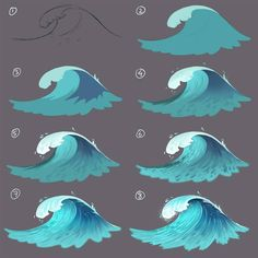 Painting a wave step by step for a future lesson on patreon and future book about digital painting. Painting a wave step by step for a future lesson on patreon and future book about digital painting. Digital Painting Tutorials, Digital Art Tutorial, Art Tutorials, Digital Paintings, Wave Paintings, Drawing Tutorials, Concept Art Tutorial, Art Sketches, Art Drawings
