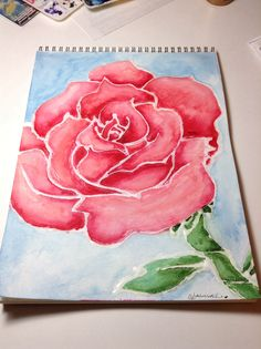 My watercolor rose. The white outline is tacky glue. Follow me on Instagram @alannahsketch