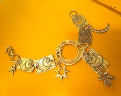 """I Give You The Moon & Stars: All STERLING Silver Artisan Handmade, 5 MOON/Star Plaques, Round """"Imagine"""" Open Foci Link, 5 Pendants Bracelet by theunitgal. Explore more products on http://theunitgal.etsy.com"""