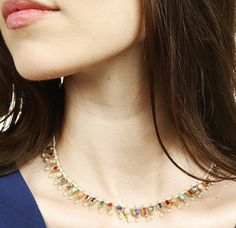 This #colorful, #elegant piece by @turnerandtatler is beautifully #unique : seed #pearl, multi gem #fringe #necklace!