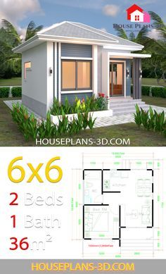 House Plans 6x6 With One Bedrooms Hip Roof House Plans 3d In 2020 Flat Roof House Bungalow House Design Small House Design