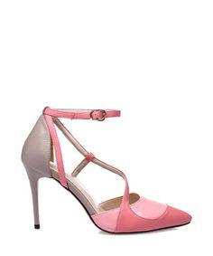 Pink & beige leather cross strap heels Sale - Jady Rose Sale