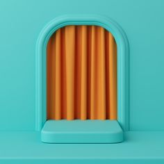 Minimal concept green color podium with orange color curtain for product. Background Drawing, 3d Background, Background Patterns, Object Photography, Photography Backdrops, Display Design, 3d Design, Design Package, Orange Color Palettes