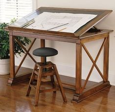 Cherry & Black Leather Drawing Table and Stool