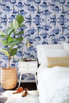 Floral wallpaper Iris removable wallpaper Dots pattern