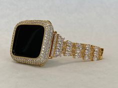 Custom Apple Watch Bands, Apple Watch Fashion, Gold Apple Watch, Apple Watch Accessories, Lab Diamonds, Gold Bands, Fashion Watches, Bling, Crystals