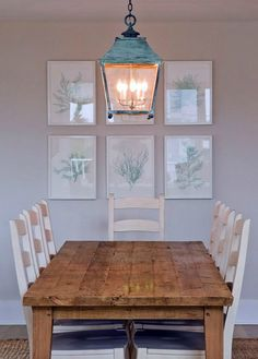 Coastal Dining Room Lights suzie: lynn morgan design - teal windsor chairs, farmhouse dining