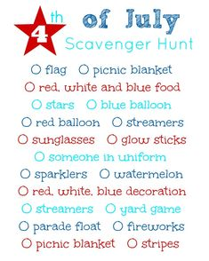 4th of July Scavenger Hunt free printable