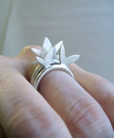 Sterling Silver Lotus Stacking Rings by touchthedutch on Etsy