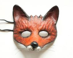 The Cunning Fox Mask  Fancy Dress Animal Mask Paper Mask Party Mask Animal Head Papier Mache