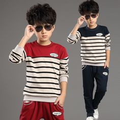 Find More Clothing Sets Information about 2016 Autumn Boys Clothes Pullover Schoolboy Sport Two Piece Stripe Children Clothing Set 4 15 years Old Kids Clothes Tracksuit,High Quality clothing overstock,China clothing la Suppliers, Cheap clothes supplies from TAILORED on Aliexpress.com