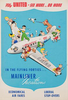vintage poster - Mainliner Vacations, #United Airlines, 1940s