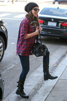 Style in check: Lea Michele looked great in her plaid shirt and beanie hat as she headed t...