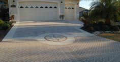 Stenciled (no stone!) Driveway Compass Design Site Custom Ram Design Ocala, FL