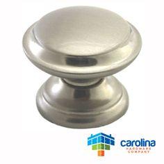 "Carolina Hardware Company Satin Nickel Cabinet Hardware Round Knob 1-3/8"" Diameter Wide Base"