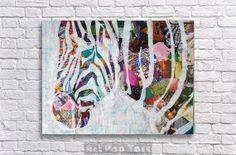 Zebra decor Zebra Art Print Bohemian decor Boho by ArtPopTart Bohemian Wall Tapestry, Bohemian Wall Decor, Wall Tapestries, Wall Hangings, Bohemian Art, Zebra Decor, Zebra Art, Zebra Painting, Zebra Print Rooms