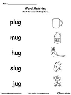 UG Word Family Picture and Word Match. Identifying words ending in –UG by matching the words with each picture. Phonics Worksheets Grade 1, Rhyming Worksheet, Family Worksheet, Printable Preschool Worksheets, Nursery Worksheets, The Words, Three Letter Words, English Grammar For Kids, English Worksheets For Kids