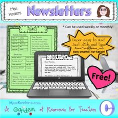 Editable Monthly newsletters to send home to parents...free! So easy to use...just click and type! You may also like the Parent Activity Home Packet or the Parent Activity Home Packet for