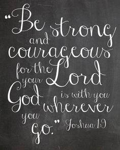 INSTANT DOWNLOAD Joshua 1:9 print, Be Strong and Courageous, Chalkboard print, scripture verse print on Etsy, $5.00 by XoTess
