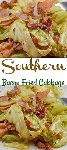 Southern Fried Cabbage and Bacon Southern fried cabbage and bacon will become an instant favorite from the first bite. seasoned to perfection with garlic, onions, and of course salty bacon. Southern Fried Cabbage and Bacon - Southern Fried Cabbage an Fried Cabbage Recipes, Bacon Fried Cabbage, Onion Recipes, Vegetable Recipes, Sour Cabbage, Southern Fried Cabbage, Bacon Fries, Bacon Bacon, Cooking Recipes