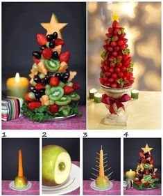 Fruit Christmas Tree Tutorial - easy, healthy and delish holiday party food idea! Fruit Christmas Tree, Christmas Snacks, Xmas Food, Christmas Brunch, Christmas Appetizers, Christmas Breakfast, Holiday Treats, Christmas Time, Xmas Tree