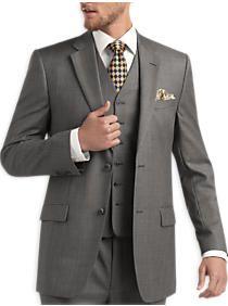 Joseph & Feiss Gold Vested Suit, Gray Sharkskin
