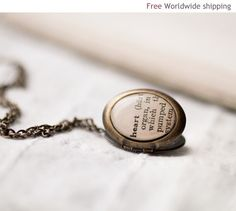 Heart word necklace locket - Love jewelry - Romantic gift for her under 25 USD (L002). $28.00, via Etsy.