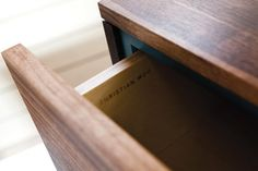 side table and drawer detail...even the subtle addition of the designer's name    //Christian Woo