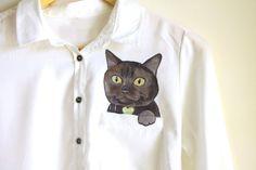 Custom pet portrait in a  pocket of shirt by Dariacreative on Etsy, $50.00