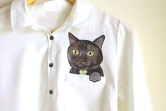 Custom pet portrait in a  pocket of shirt by Dariacreative on Etsy, $50.00