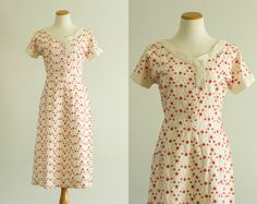 vintage 1950s dress / 50s red embroidered by HungryHeartVintage