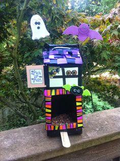 Not Just a Mom With Boys: Milk Carton Haunted House Bird Feeder