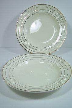 Anciennes assiettes  à soupe Faïence d'Onnaing  bordure en relief et liseré or par 2 vintage Made in France de la boutique MyFrenchIdeedAntique sur Etsy