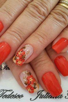 69 Fotos de Unhas Decoradas com Esmalte Vermelho Ombre Nail Designs, Simple Nail Art Designs, Beautiful Nail Designs, Easy Nail Art, French Nails, Floral Nail Art, Latest Nail Art, Flower Nails, Simple Nails