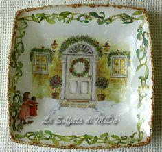Piatto natalizio decorazione sopra e sotto vetro