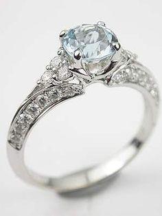 Antique Style Aquamarine Engagement Ring, RG-3433 #JewelryBox
