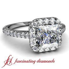 Princess Cut Halo Set Diamond Engagement Ring...
